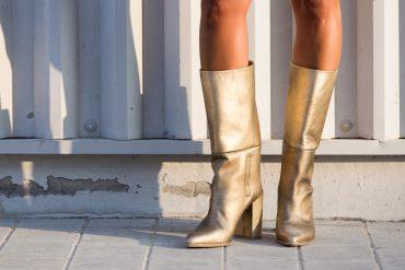 Stuart Weitzman, gold boots, statement boots, kat lebrasse